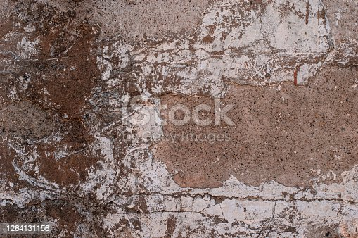 Clay walls of an old house in the village. Old weathered clay walls like a retro background