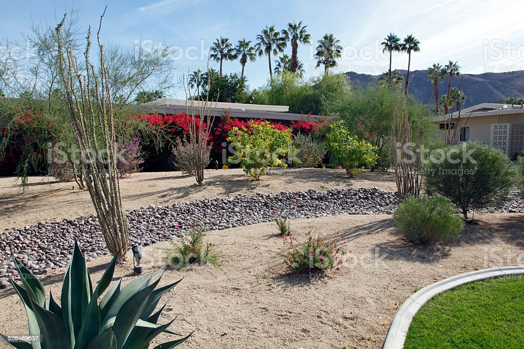 Large Front Yard Xeriscaped For Water Conservation Stock Photo