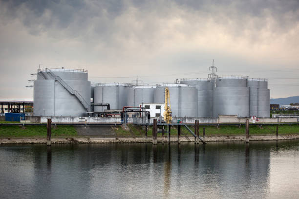 Large fuel tanks at the harbor stock photo