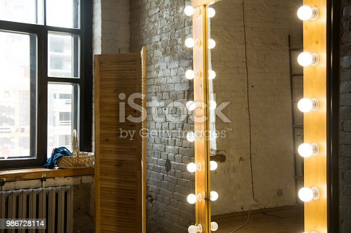 Large full-length mirror in a room with a brick wall and a window.