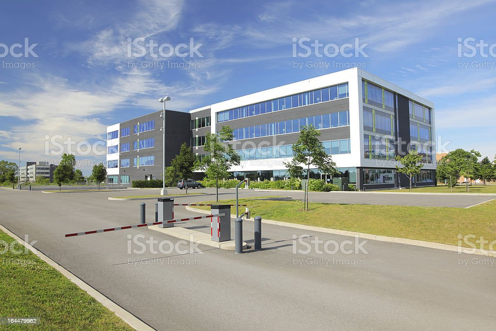 Large Gated Access Office Building stock photo