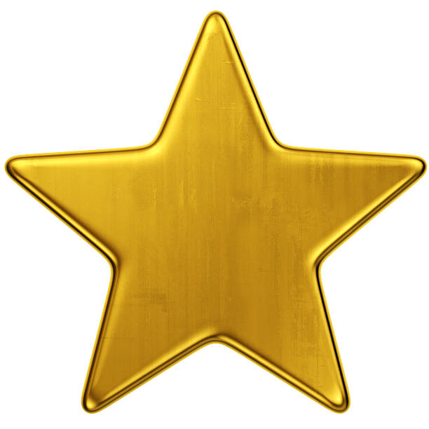 large gold star against white background - star shape stock photos and pictures