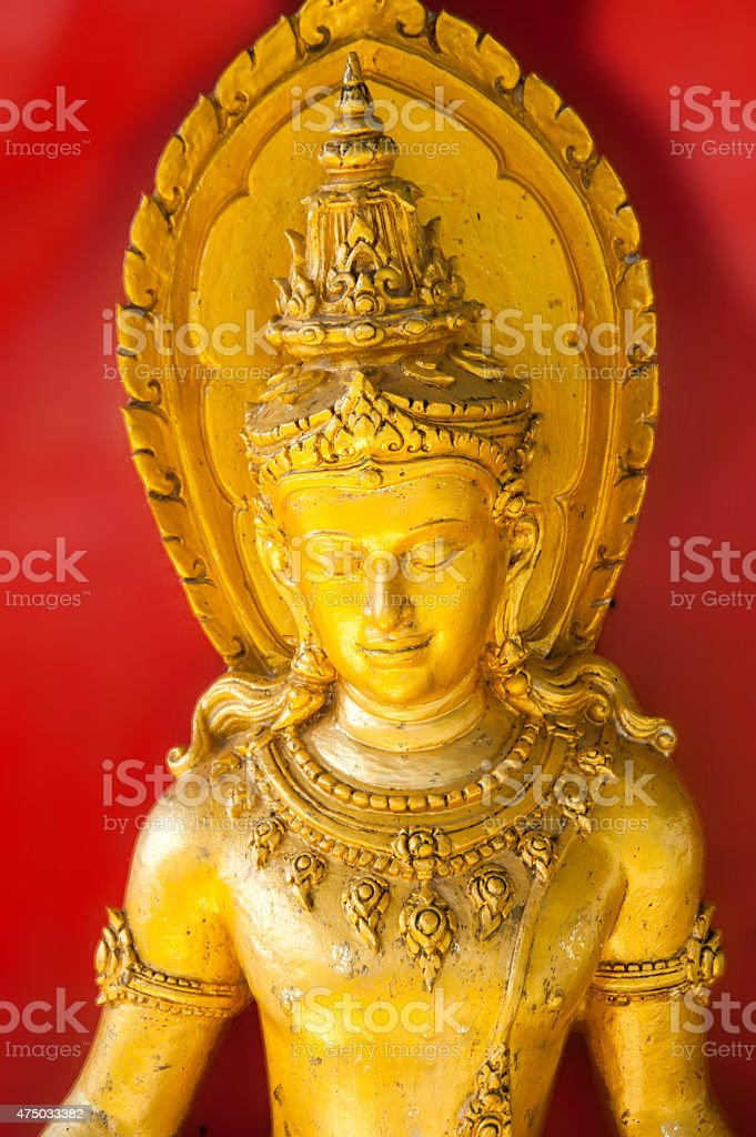 Large golden buddha goldleaf roof Buddhist culture and life styl stock photo