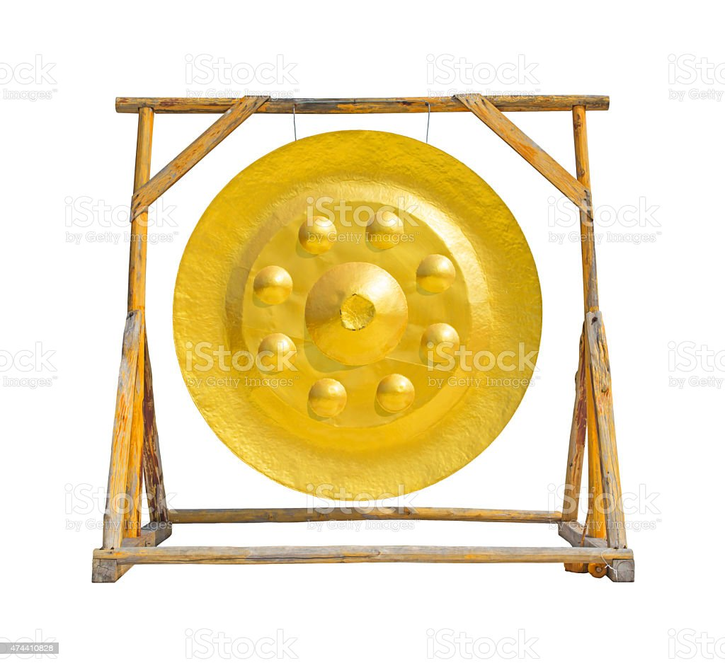 Large golden gong stock photo