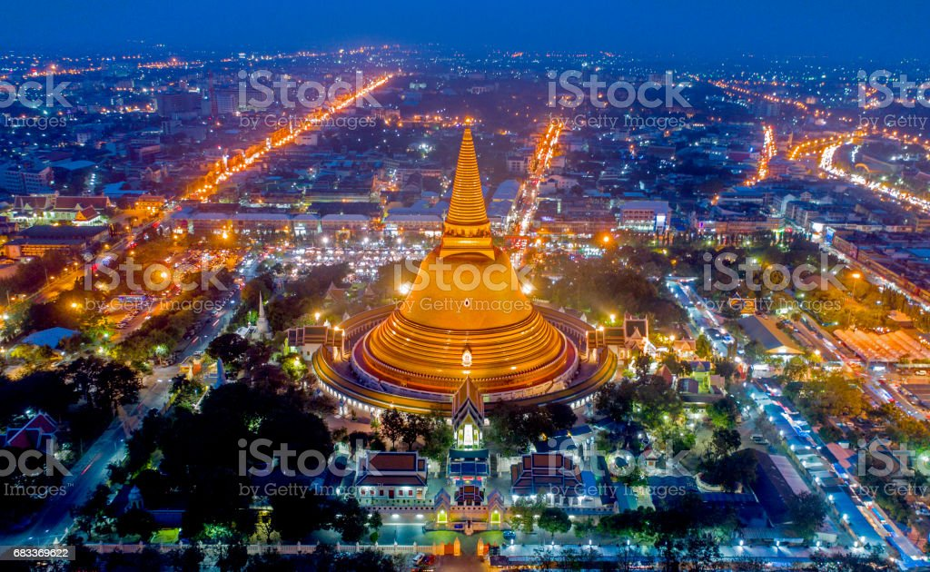 Large golden pagoda Thailand stock photo