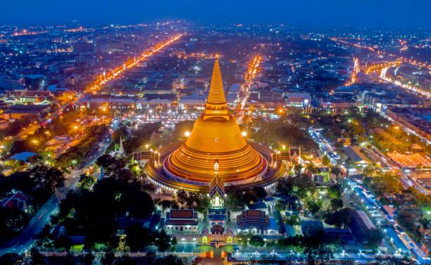 Large golden pagoda Thailand stock photo