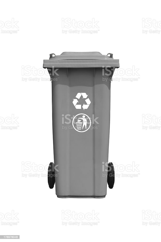 Large gray trash can with recycle mark royalty-free stock photo