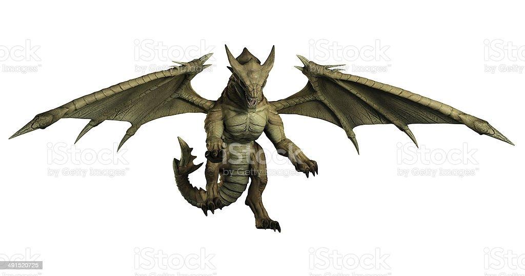 Large Green Dragon Pouncing stock photo