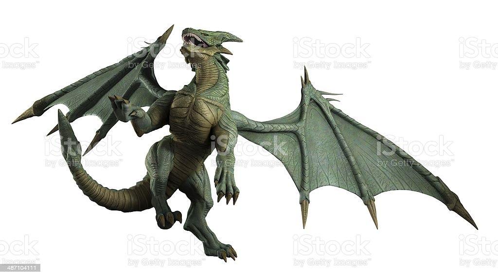 Large Green Dragon - turning stock photo