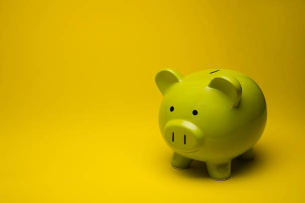 Large Green Piggy Bank on Yellow Background stock photo