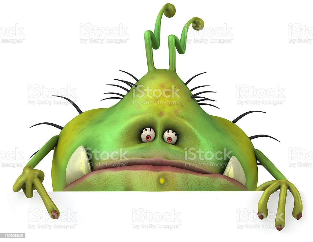 Large green scary germ monster stock photo