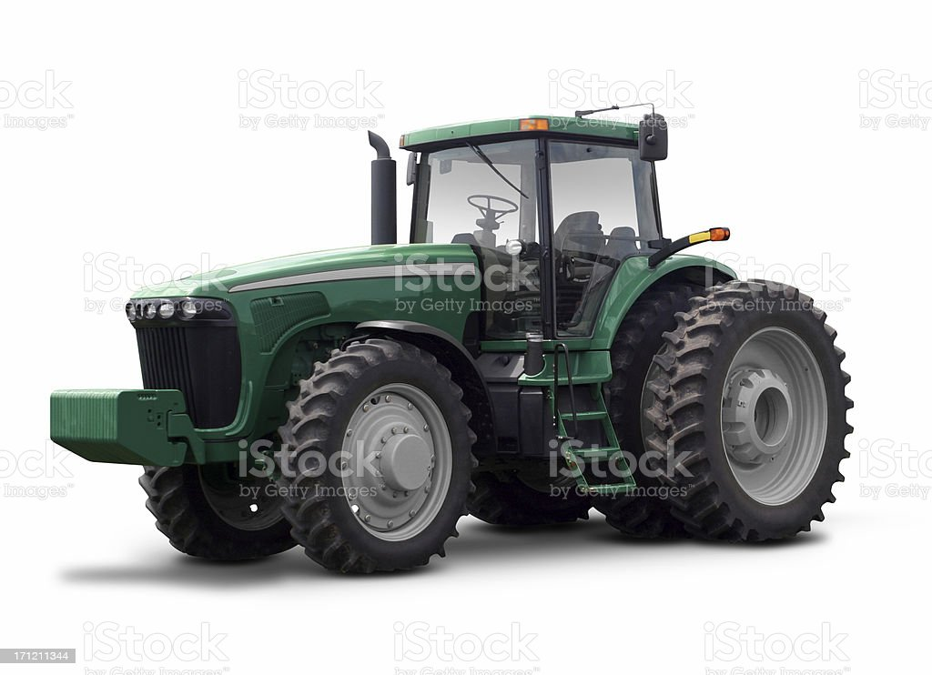 Large green tractor against a white background stock photo