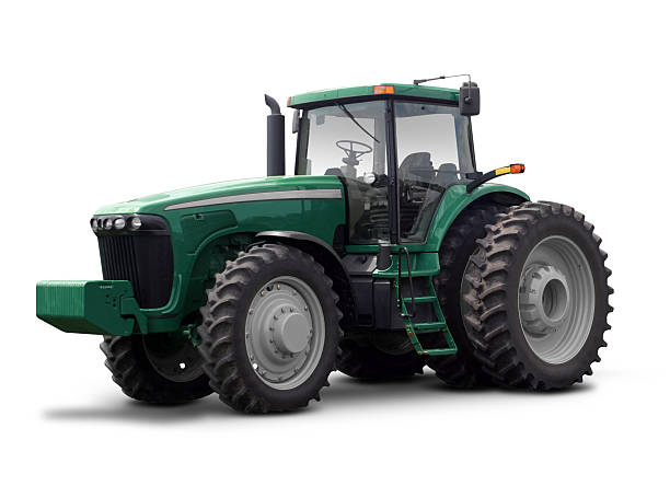 """Large green tractor against a white background """"Farming tractors in Nebraska, separated onto a white background for your convenience. Complete work path included. Colors are slightly altered so as not to infringe upon the current trademarked colors of John Deere."""" agricultural equipment stock pictures, royalty-free photos & images"""