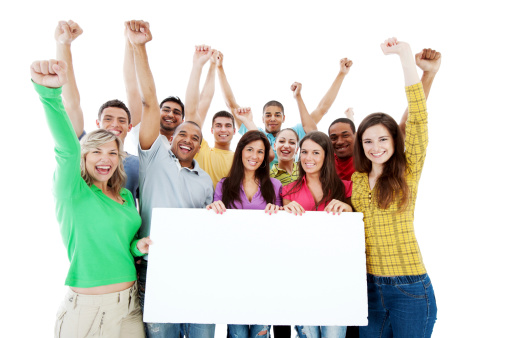 istock Large group holding a big white board. 184271016