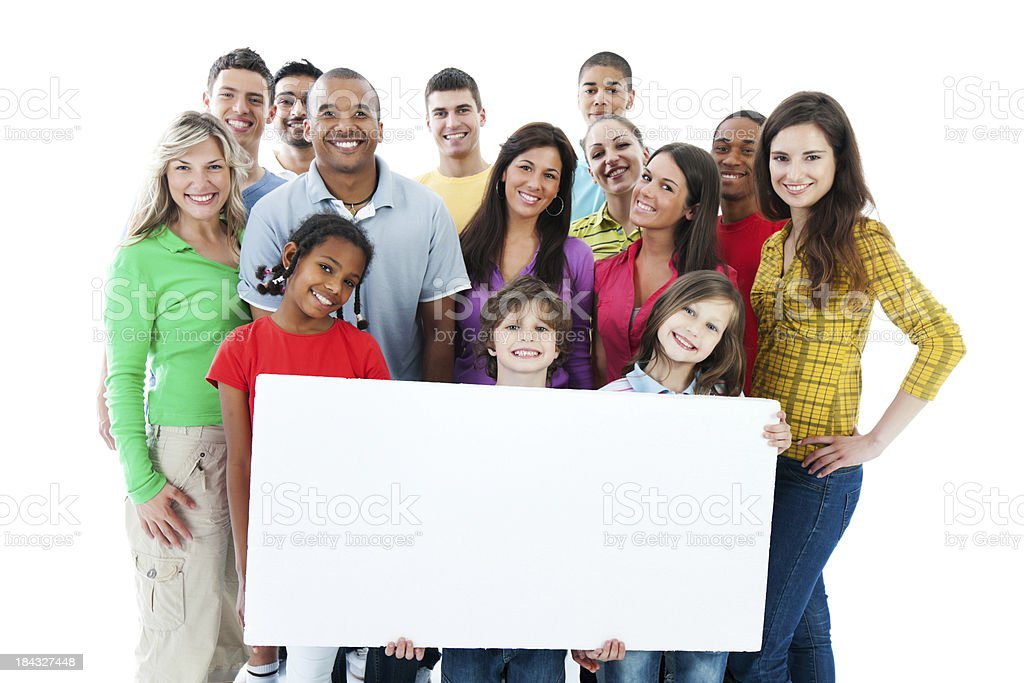 Large group holding a big white board. royalty-free stock photo