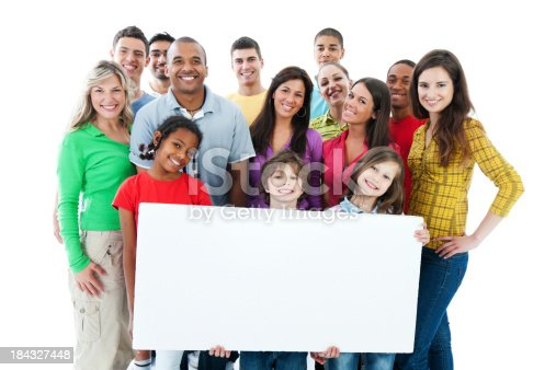 638013502istockphoto Large group holding a big white board. 184327448