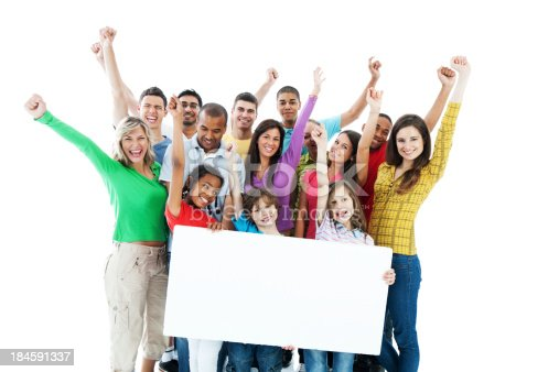 638013502istockphoto Large group holding a big white board. 184591337