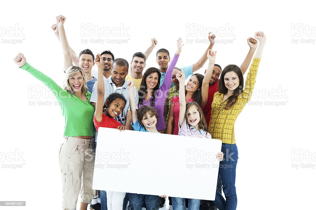 Large group holding a big white board. stock photo