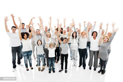 866758230 istock photo Large group of a happy people with raised hands. 169950533
