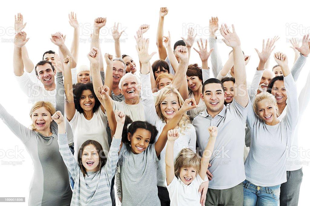 Gran Grupo De Gente Feliz Con Aumento De Las Manos Foto de stock y ...
