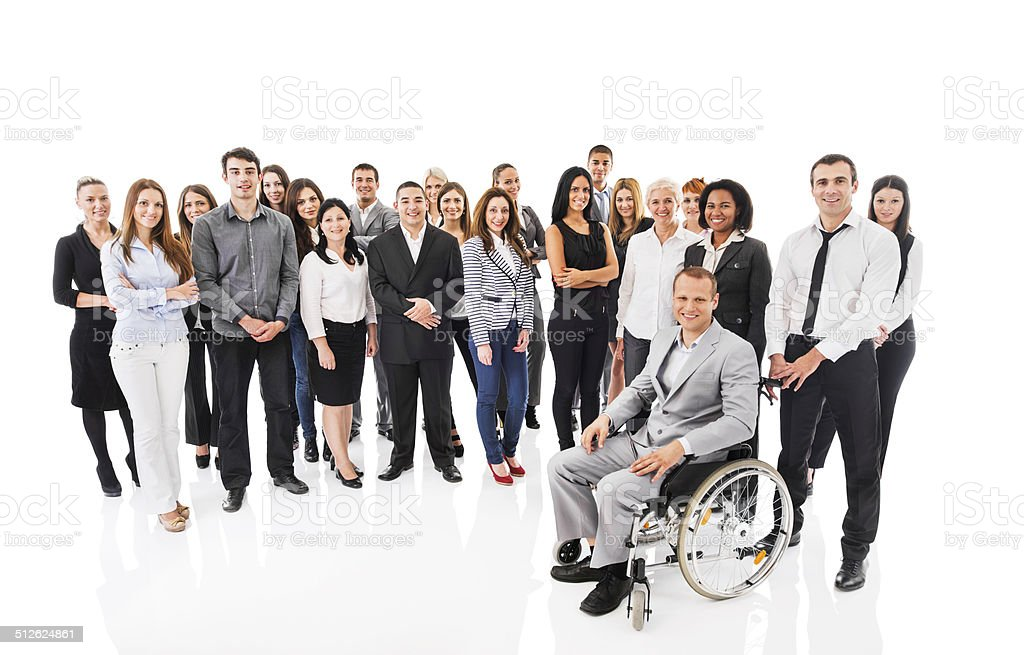 Large group of business people isolated on white. stock photo