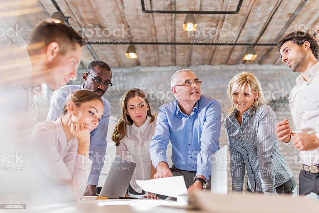 Large group of business people on a meeting. stock photo