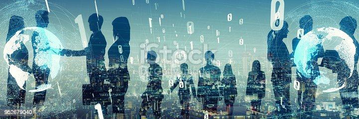 istock Large group of businessperson. Business and technology concept. 952679040