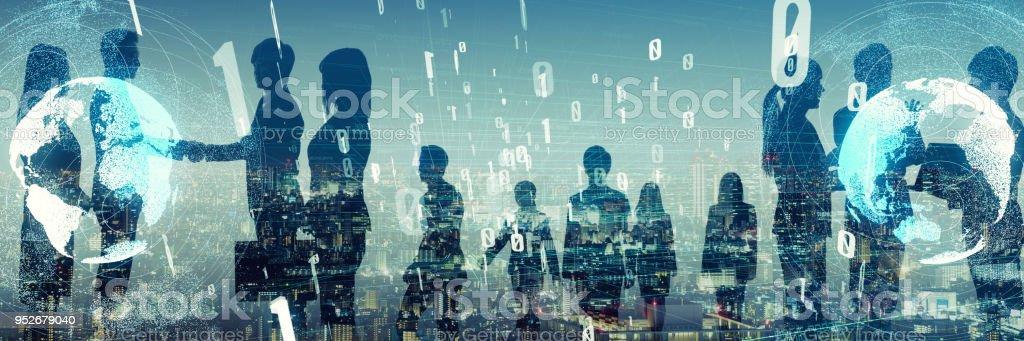 Große Gruppe von Unternehmer. Business und Technologie-Konzept. – Foto