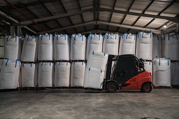 Large group of chemical sacks stock photo