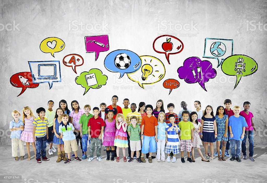 Large Group of Children With Speech Bubbles stock photo