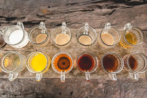 large group of coffee and tea choice - grüner tee koffein stock-fotos und bilder