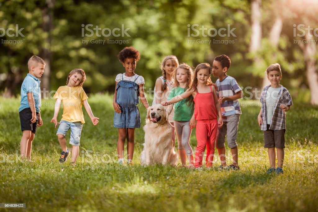 Large group of cute kids having fun while cuddling a dog at the park. royalty-free stock photo