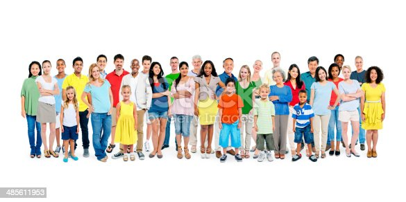 istock Large Group of Diverse Colorful Happy People 485611953