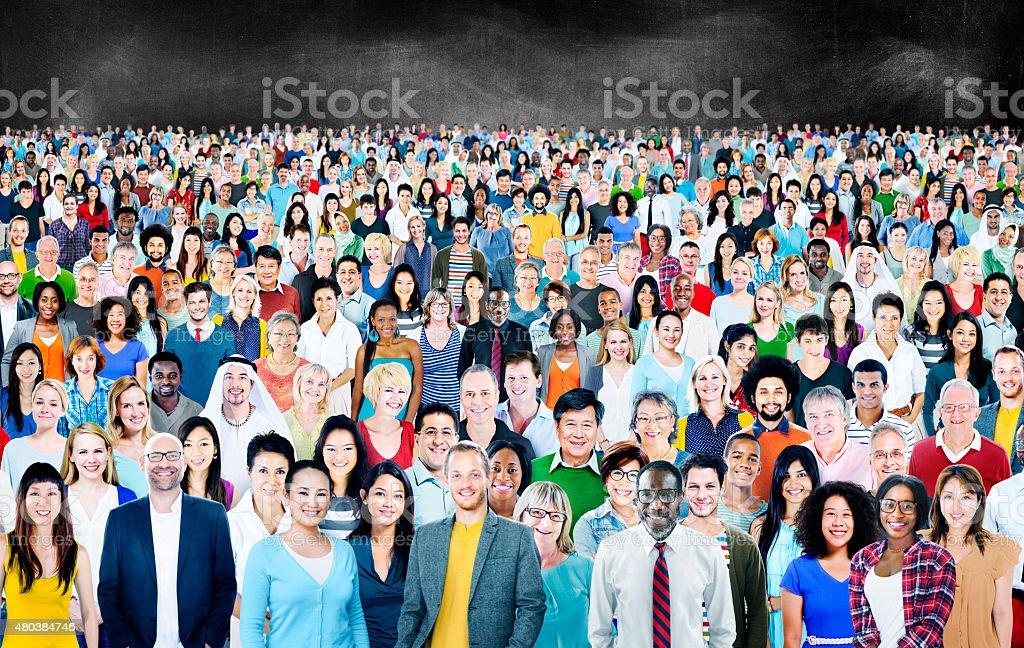 Große Gruppe von verschiedenen multiethnische fröhlich Konzept Lizenzfreies stock-foto
