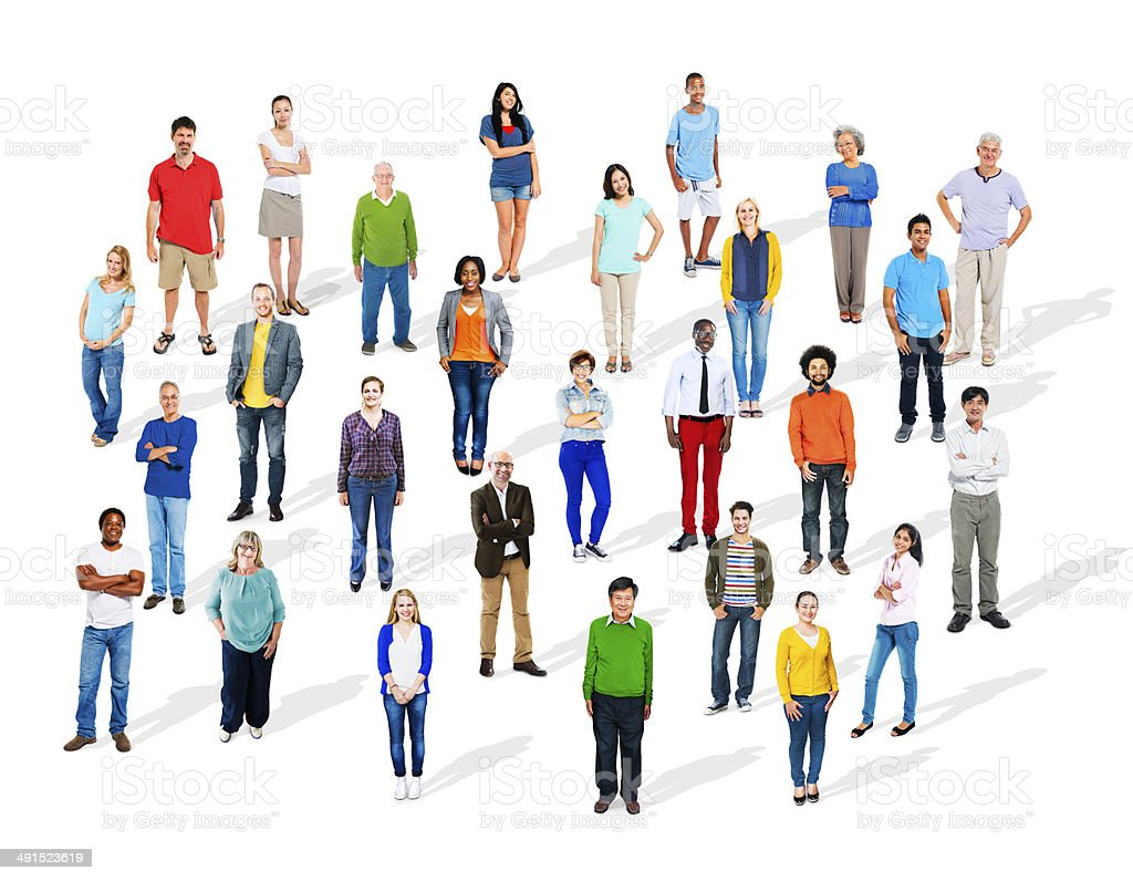 Large Group of Diverse Multiethnic Colourful People royalty-free stock photo