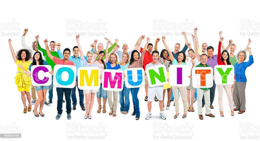 Large Group of Diverse People Holding Word Community stock photo