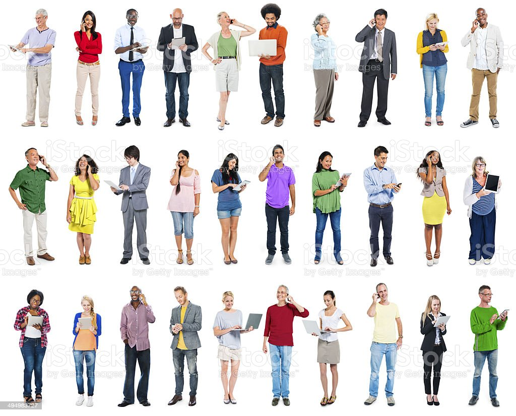 Large Group of Diverse People Using Digital Devices stock photo