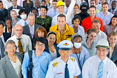 Large group of diverse workers from various occupations