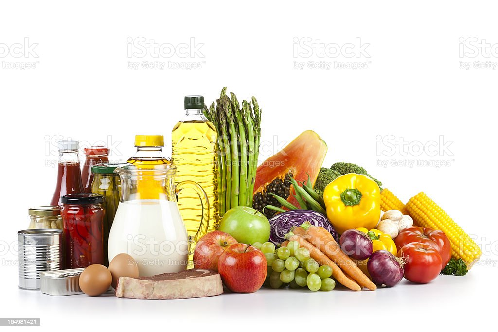 Large group of food shoot on white backdrop royalty-free stock photo