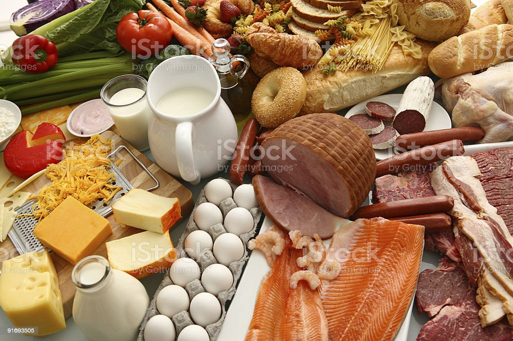 Large group of foods stock photo