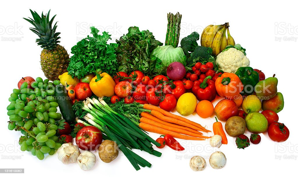Large group of fresh fruits and vegetables stock photo