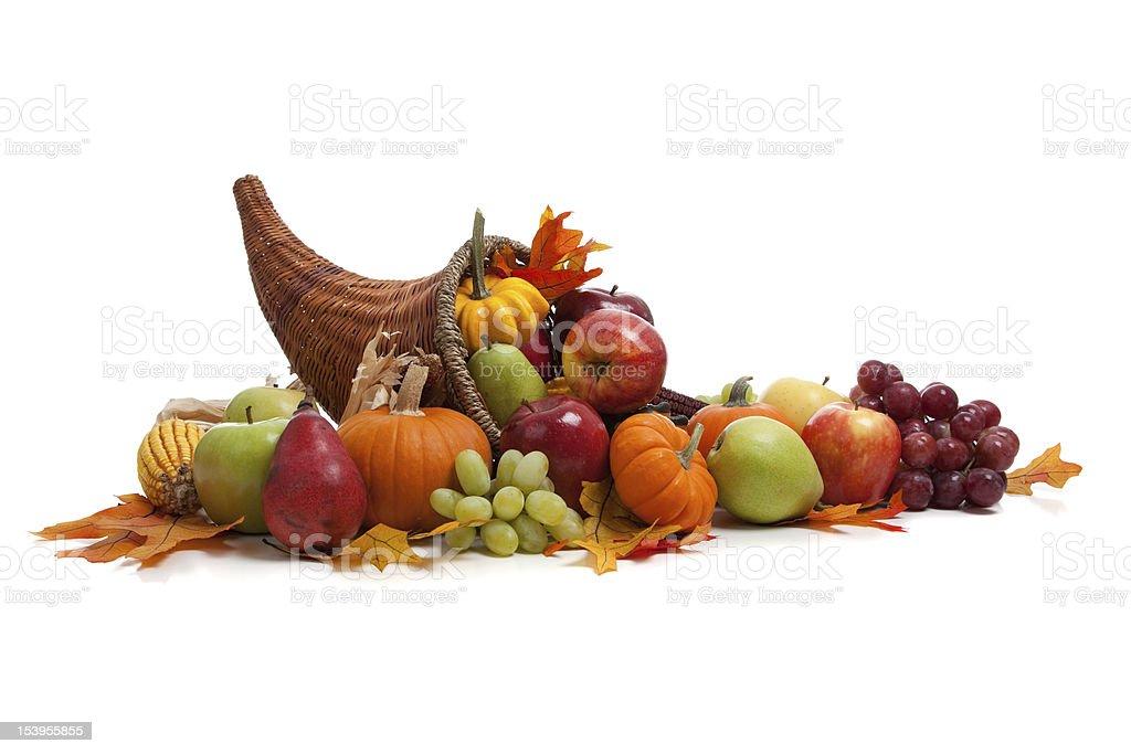 Large group of fruit and a fall cornucopia stock photo