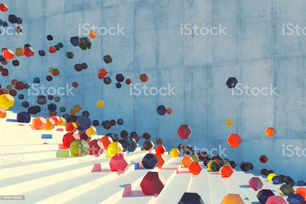 Large group of glowing elements falling down the urban concrete stairs stock photo