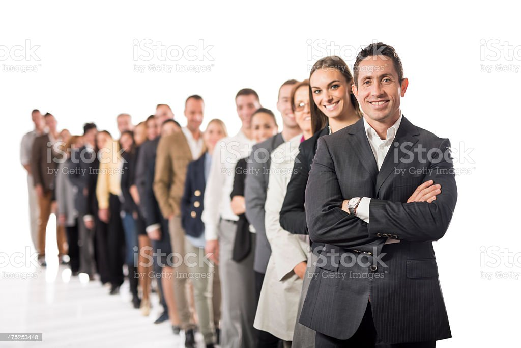 Large group of happy business people in a row. stock photo