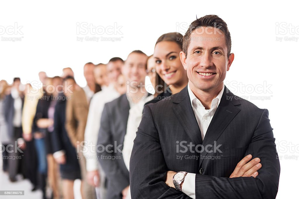 Large group of happy business people in a row. royalty-free stock photo