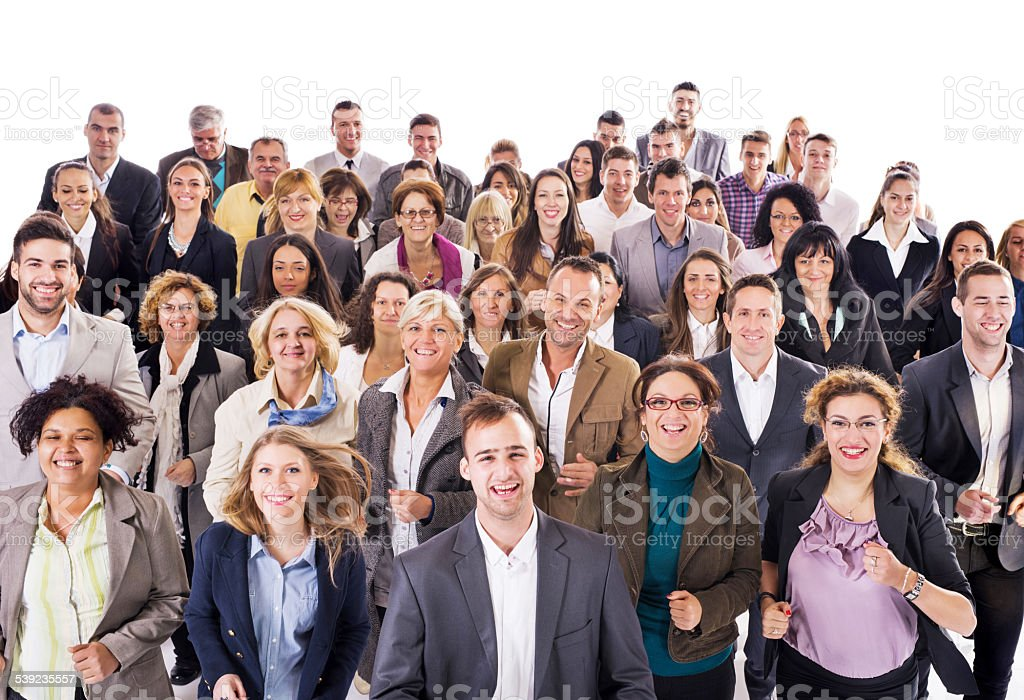Large group of happy business people running together. stock photo