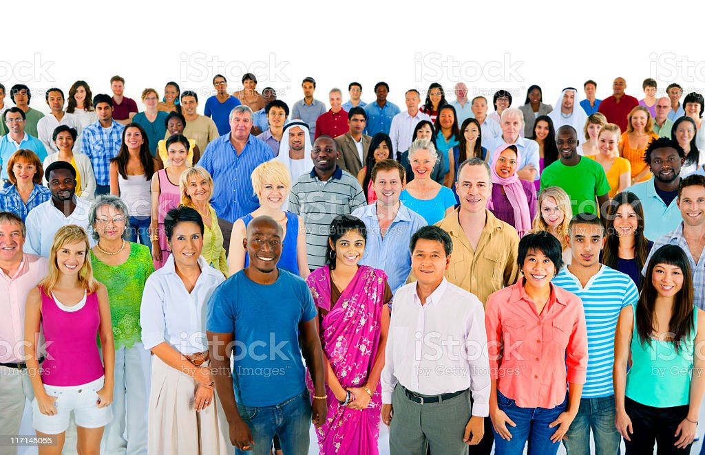 Large group of happy people from around the world stock photo