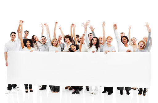 istock Large group of happy people holding a white board. 175423602