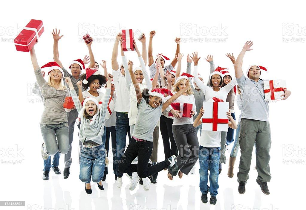 Gente Feliz En Navidad.Gran Grupo De Gente Feliz Navidad Presenta Y Jumpi Retencion