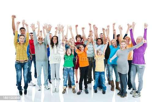 866758230 istock photo Large Group of Happy People raised hands. 185100359